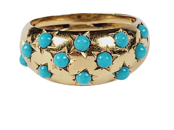 Gypsy set turquoise 18ct gold ring sku 5071  DBGEMS - image 1