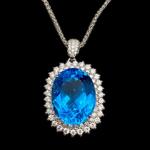 London Blue Topaz Diamond 18ct White Gold Pendant date circa 1980, SHAPIRO & Co since1979 - image 1