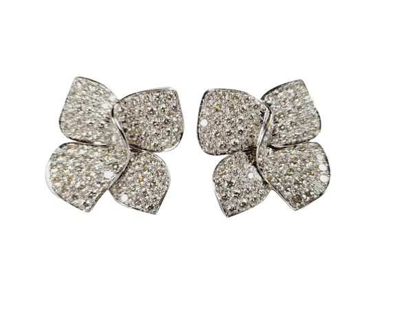 Modern naturalistic bow pave diamond earrings sku 5092  DBGEMS - image 1