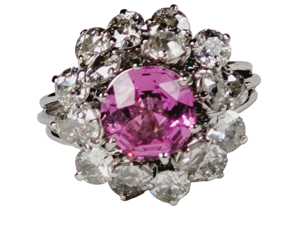 Fantastic French pink sapphire and old cut diamond dress ring Sku 5088  DBGEMS - image 1